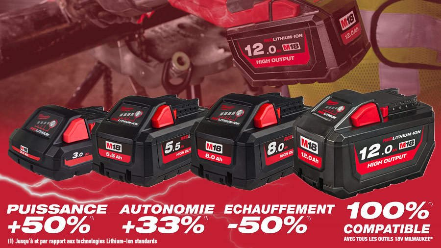 ARTICLE ZONE OUTILLAGE - Milwaukee dévoile sa nouvelle gamme de batteries M18 HIGH OUTPUT